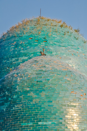 Photo of large roof made of bricks with blue colour and pigeon sitting on it in Samarkand in Uzbekistan. Imagens