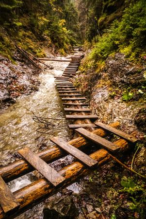 footbridges: Photo of wooden foot-bridges in favourite Slovak place in Slovak Paradise in Slovakia.