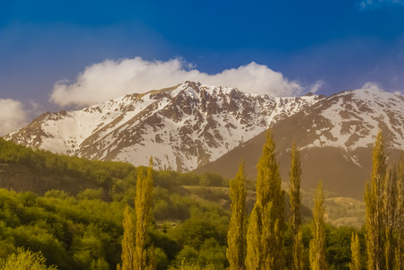 cerro: Photo of mountains covered in snow and surrounding greenery in valleys of Villa Cerro Castillo in Chile.