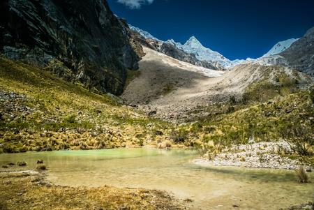 alpamayo: Photo of countryside and Alpamayo in Parque Nacional Huascaran in Peru, South America.