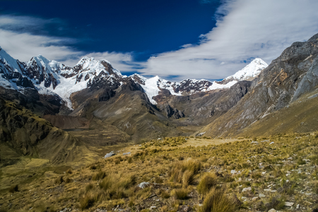 Photo of countryside with snowy mountain range and Alpamayo in Parque Nacional Huascaran in Peru, South America.