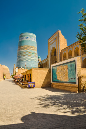 oriented: Photo of small shops and houses in street of Khiva in Uzbekistan. Stock Photo