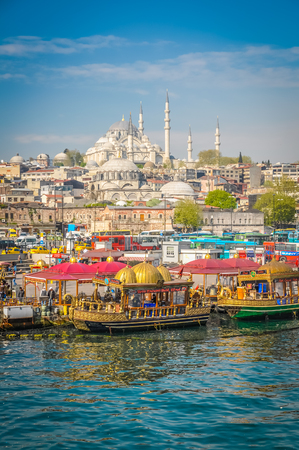 Photo of crowded city of Istanbul with typical architecture of its buldings in Turkey.