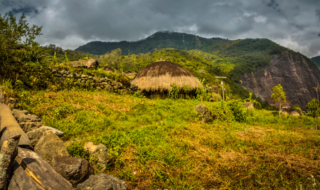 dani: Photo of traditional house with straw roof surrounded by greenery and mountains in Dani circuit near Wamena, Papua, Indonesia. Stock Photo