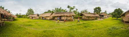 Panoramic photo of village houses and small native children in Dekai, Papua, Indonesia. In this region, one can only meet people from isolated local tribes.