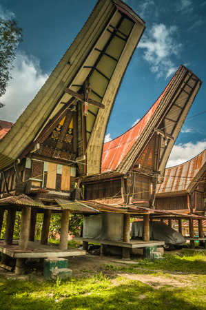 Large ancestral houses also called tongkonans, typical of large roofs and colourful patterns in Sangalla, Toraja region in southern Sulawesi, Indonesia.