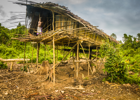 humilde: Dekai, Papua, Indonesia - September 2015: Old native man stands in his wooden house surrounded by greenery in Dekai, Papua, Indonesia. Documentary editorial. Editorial