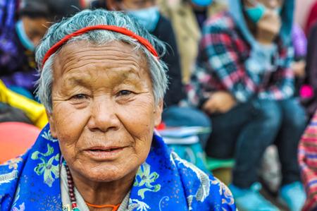 Bohdgaya, Bihar - circa January 2012: Old woman with nice face and grey hair in Bohdgaya, Bihar. Documentary editorial.