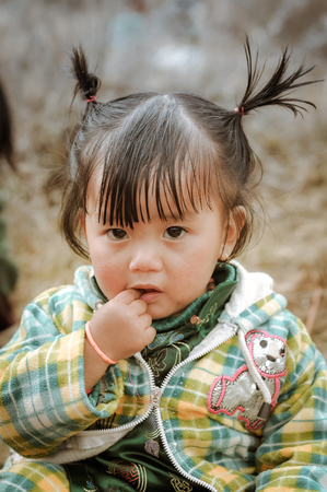 ponytails: Dorjeling, Arunachal Pradesh - circa March 2012: Small girl with two ponytails has finger in her mouth in Dorjeling, Arunachal Pradesh. Documentary editorial.