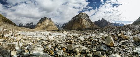 Scenic panorama  of Baltoro Glacier surrounded by the highest peaks of Karakoram Mountain Range, Pakistan.