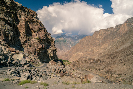 Dangerous mountain road in Pakistan on Karakoram Highway.