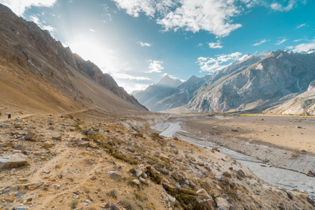 Scenic view of Karakoram Mountains in Pakistan on sunny morning. Valley leading to K2 base camp.