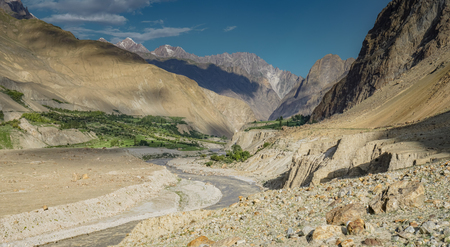 Beautiful valley with stream in Karakoram Mountains in Pakistan.