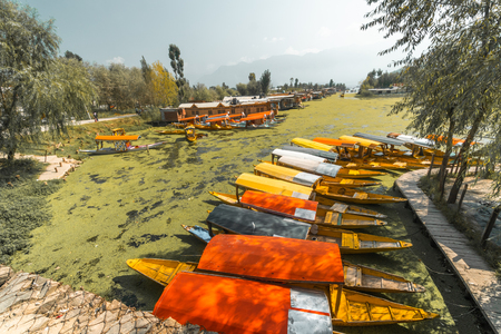 Boat harbor in Srinagar, Kashmir. Popular with tourists with houseboats and beautiful hikes in Kashmir mountains.