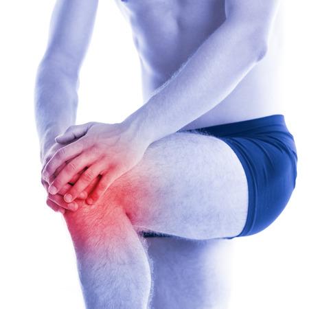 dolor de rodilla: Hombre con dolor de rodilla