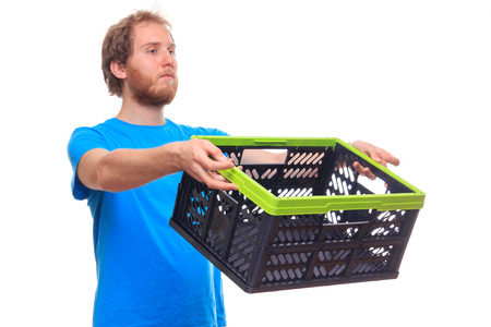 administered: Man With Empty Basket Box Studio Shoot