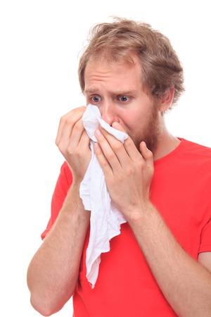 handkerchief: Man crying into his handkerchief - studio shoot