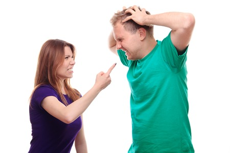 gesticulate: Boy arguing with his girlfriend - studio shoot