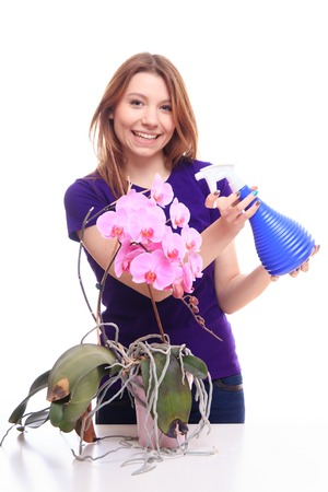 Pretty girl watering orchid flower with spray - studio shoot photo