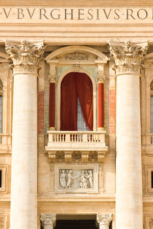peters: Conclave window and balcony  in St. Peters Basilica in the Vatican