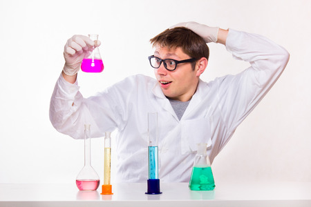 studio shoot: Chemist made a discovery in the lab - studio shoot