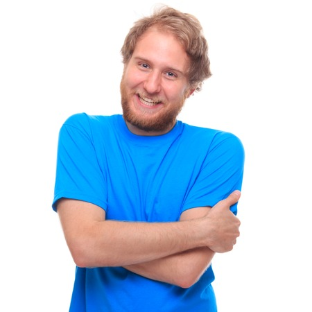 ble: Portrait of a happy bearded man on white - studio shoot