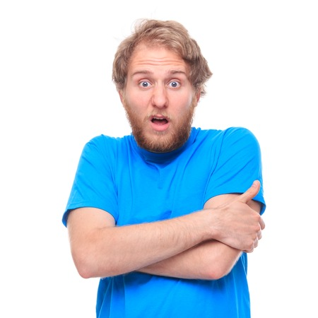disbelief: Portrait of bearded disbelief man on white - studio shoot