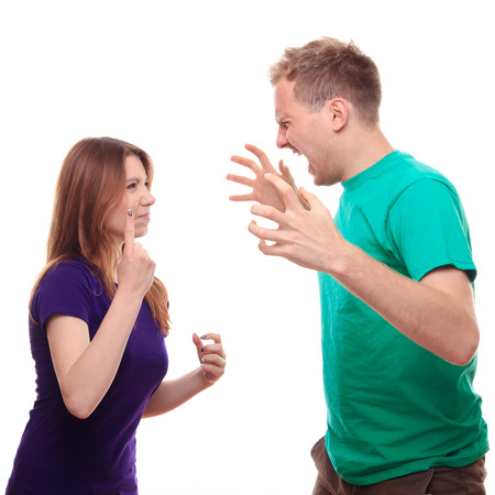 gesticulate: Boy arguing with his girlfriend