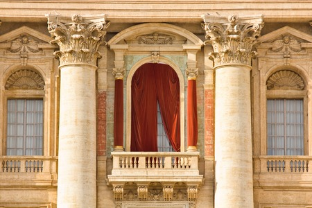 balcony window: Conclave window and balcony  in St. Peters Basilica in the Vatican