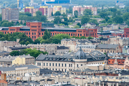 Aerial view of the city of Lodz, Poland
