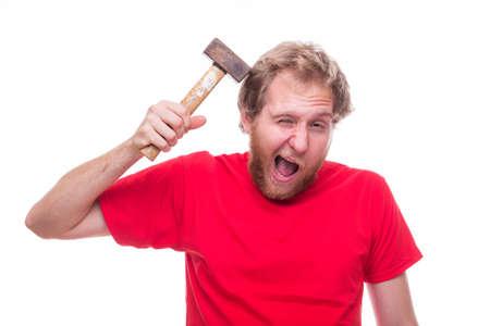 scold: Man doing self-mutilation - studio shoot