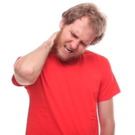 contusion: Bearded man has neck pain - studio shoot