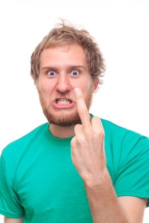 fucking: Man with middle finger gesture - studio shoot