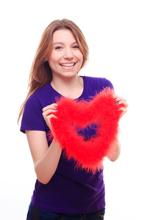 backgraound: Girl with red heart Stock Photo