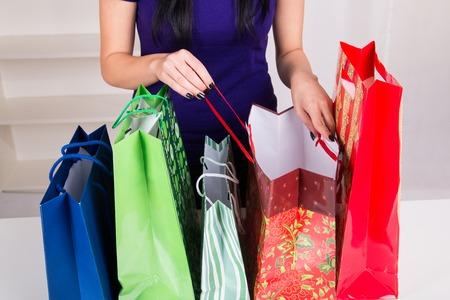christmas shopping bag: Gift Bags for Christmas - studio shoot