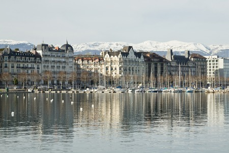 View of the city and Lake Geneva, Switzerland Banco de Imagens