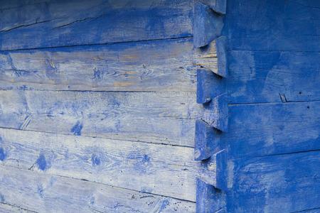 corner of house: Corner of wooden blue house