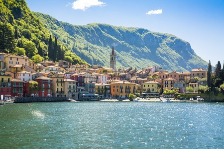 Beautyful old town harbor in Italian city of Varenna
