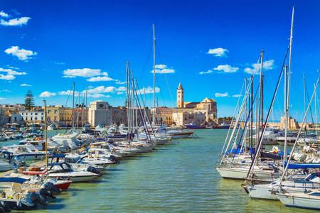 View of a nice fishing harbor and marina in Trani, Puglia region, Italy