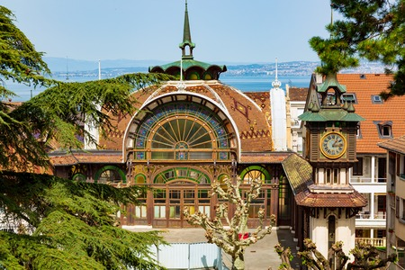Historic art nouveau pump house of mineral water in Evian-les-Bains city in France