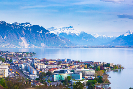 Panorama of Montreux city, Lake Geneva and amazing mountains in Switzerland
