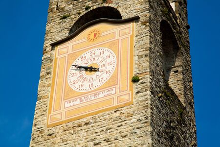 Old town clock tower in Bergamo City, Italy