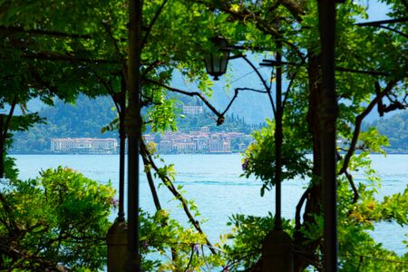 Garden pergola covered by green Ivy plant in front of Como Lake in Italy