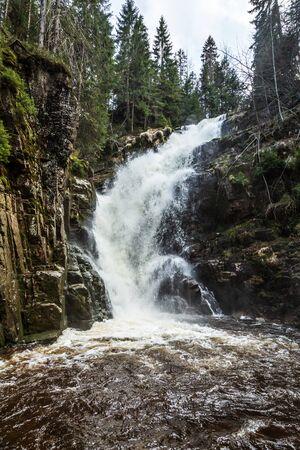 Kamienczyk Waterfall in Karkonosze National Park in Poland