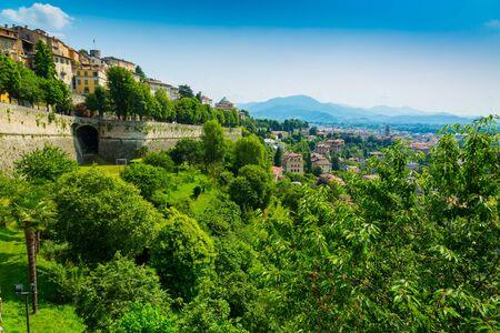 Panorama della città di Bergamo dal centro storico di Città Alta, Italy