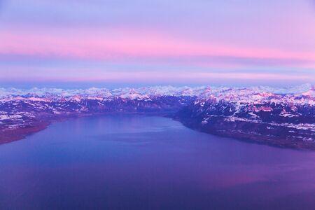 Aerial photography of Lake Geneva and Swiss Alps, Switzerland