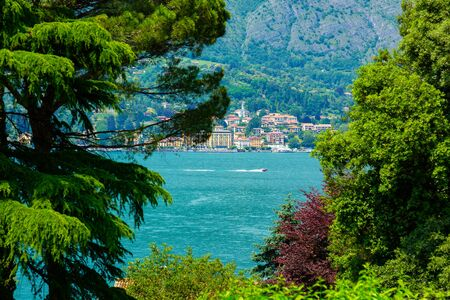Idyllic view of Lake Como and Menaggio Town in Italy