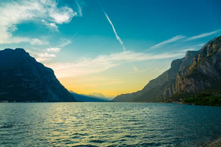 Idyllic sunset over Lake Como and Monutains taken from Lecco city, Lombardy, Italy Reklamní fotografie