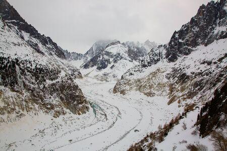 Mer de Glace valley under Mont Blanc massif in French Alsp
