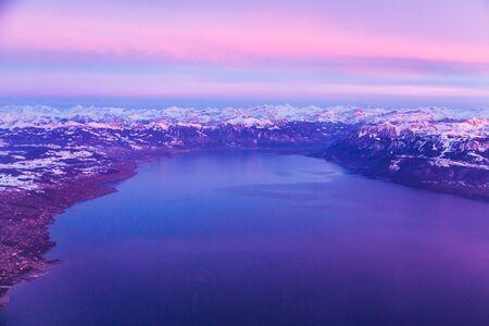 Lake Geneva and Swiss Alps taken from plane, Switzerland